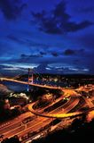 Fisheye di Tsing Ma Bridge Fotografia Stock