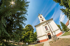 Fisheye distorted picture of a small temple Royalty Free Stock Photography