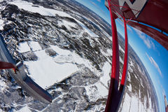 Fisheye flying in winter Stock Photos