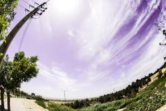 Fisheye himmel och stad Royaltyfria Bilder