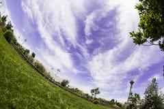 Fisheye himmel och stad Fotografering för Bildbyråer