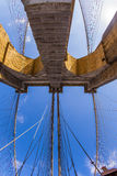 Fisheye image of the Brooklyn Bridge in New York City Royalty Free Stock Image