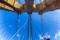 Fisheye image of the Brooklyn Bridge in New York City Royalty Free Stock Photography