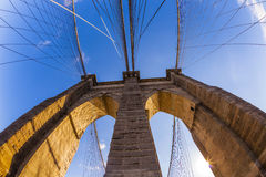 Fisheye image of the Brooklyn Bridge in New York City Stock Photo