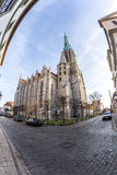 Fisheye image of St. Mary's Church in Mühlhausen Stock Photography