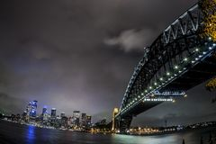 Fisheye image of Sydney Harbor Bridge at night, Australia stock images