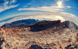 Fisheye lens aerial view. of volcano caldera from summit Pico del Teide mountain. Stock Photography