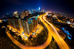 Fisheye Lens beskådar av den Kuala Lumpur staden Royaltyfri Fotografi
