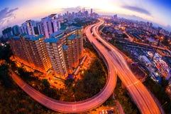 Fisheye Lens beskådar av den Kuala Lumpur staden Royaltyfri Bild