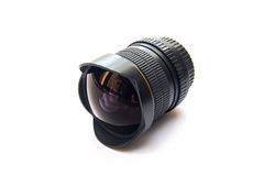 Fisheye lens. Closeup isolated view of the modern fisheye lens for the single lens reflex camera royalty free stock photos