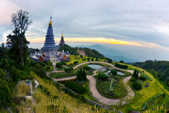 Fisheye lens. Inthanon National Park. Place leisure travel, mountains of Thailand. Vantage point to view both sunrise and sunset. Fish eye Royalty Free Stock Photo