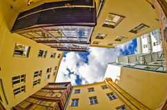 Fisheye lens look of the Old Town on sky background . Prague Stock Image