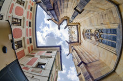 Fisheye lens look of the Old Town on sky background . Prague Royalty Free Stock Photos