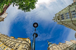 Fisheye lens look of the Old Town on sky background . Prague Stock Photography