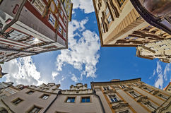 Fisheye lens look of the Old Town on sky background . Prague Stock Photo
