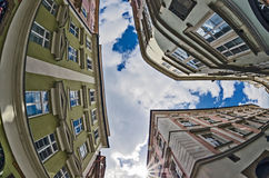 Fisheye lens look of the Old Town on sky . Prague Stock Images