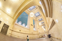 Fisheye lens photo of Grand Central Terminal interior. Stock Photography
