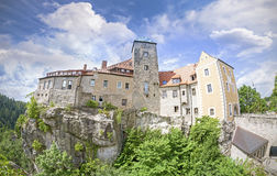 Fisheye lens photo of Hohnstein castle, Germany. Stock Photo