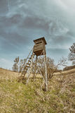 Fisheye lens photo of a hunting pulpit. Stock Images