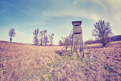 Fisheye lens photo of a hunting pulpit. Stock Image
