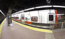 Fisheye lens photo of MTA train at the Grand Central Terminal. Stock Images