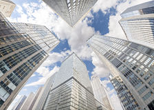 Fisheye lens photo of skyscrapers in Manhattan, New York City, U Royalty Free Stock Images