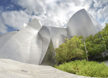 Fisheye lens photo of Walt Disney Concert Hall. royalty free stock photography