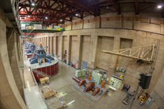 Fisheye lens picture of Hoover Dam interior with generators. Royalty Free Stock Photography