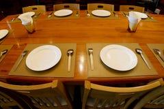 Fisheye photo of restaurant dining table. Setting Royalty Free Stock Image