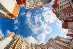 Fisheye schoss von den neuen resitential Gebäuden Stockfotografie