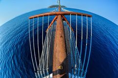 Fisheye seascape 9. Sailing to a desert island, fisheye view from a bow of the yacht, island Kelifos between Sithonia and Kassandria, Chalkidiki, Greece Stock Images