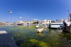 Fisheye shot of the fishing port in Gruissan Stock Photo