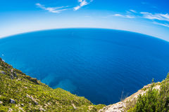 Fisheye shot of Mediterranean Sea Stock Photo