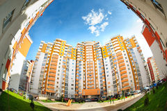 Fisheye shot of new residential buildings Stock Image