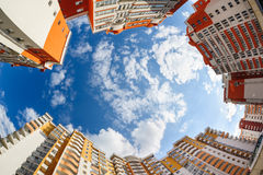 Fisheye shot of new resitential buildings. Fisheye shot of new apartments buildings exterior Stock Photography