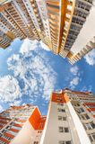 Fisheye shot of new resitential buildings Stock Images