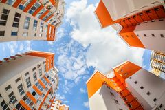 Fisheye shot of new resitential buildings Royalty Free Stock Photo