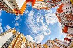 Fisheye shot of new resitential buildings Royalty Free Stock Photo