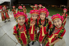 Fisheye shot of young students in chinese traditional costumes get together before their performance Royalty Free Stock Images