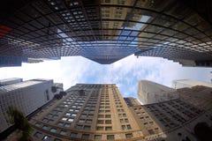 Fisheye sikt av byggnader Arkivfoton