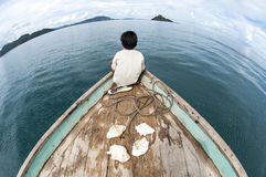 Fisheye sikt av den Gusungan Sipadan ön som lokaliseras på Semporna, Sab Royaltyfria Bilder