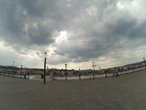 Fisheye sikt av Donauen i Budapest Royaltyfria Bilder