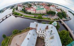 Fisheye sikt på den gamla staden från observationsdäcket av Vyen Arkivfoto