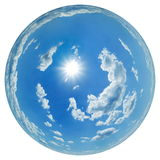 Fisheye sky. Simulated 180° fisheye - sky globe with scattered cumulus clouds and sun royalty free stock photo