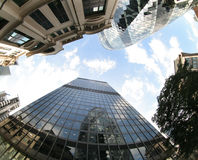 Fisheye of swiss re building Royalty Free Stock Image