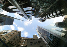 Fisheye of swiss re and lloyds royalty free stock images