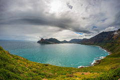 Fisheye ultrawide view of Hout Bay, Cape Town Royalty Free Stock Photo