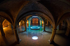 Fisheye and vaulting. Wonderful subterranean reservoir water flooding Royalty Free Stock Photos