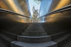 Fisheye 180 view of the access stairway to an underground park i. N Madrid city, Spain Stock Photos