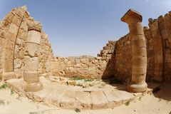 Fisheye view of ancient temple colonnade in Avdat, Israel Royalty Free Stock Photography